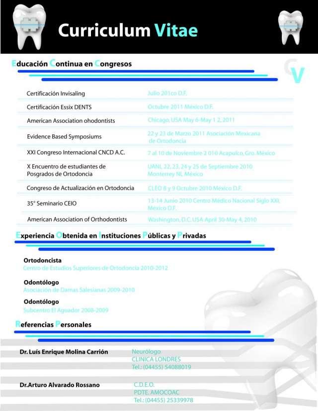 curriculum vitae ejemplos de odontologos