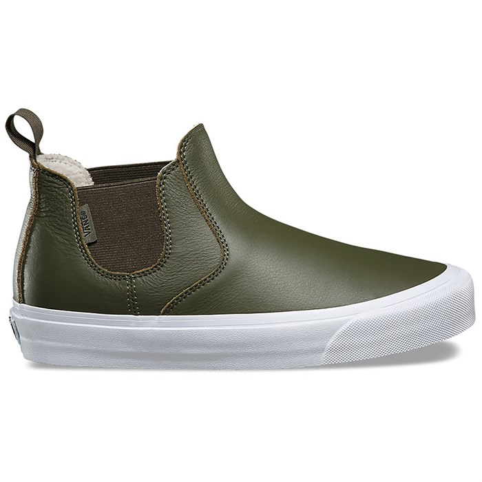 Womens White Leather Slip On Sneakers