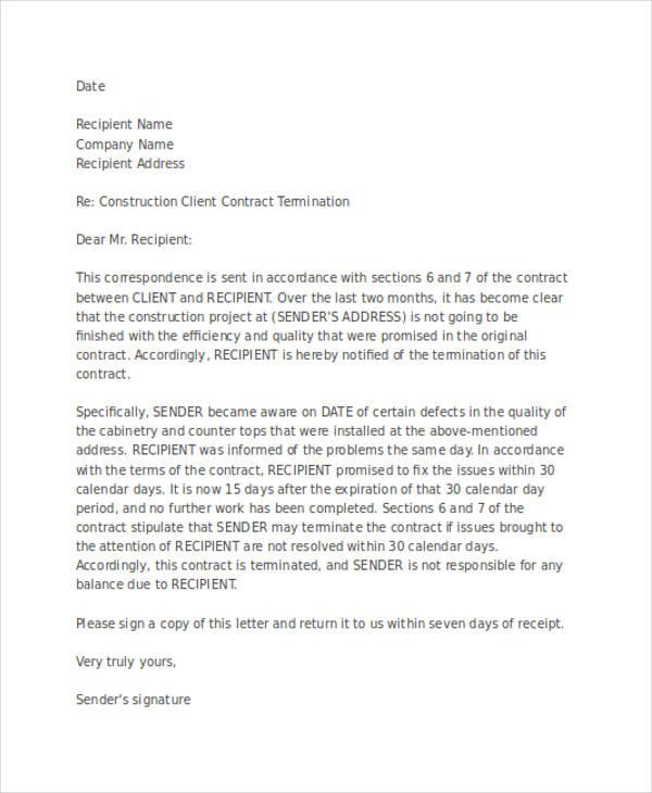 client termination letter