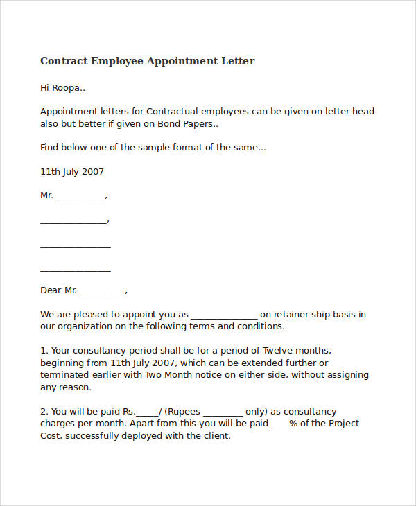 FREE 65 Appointment Letter Examples  Samples in PDF