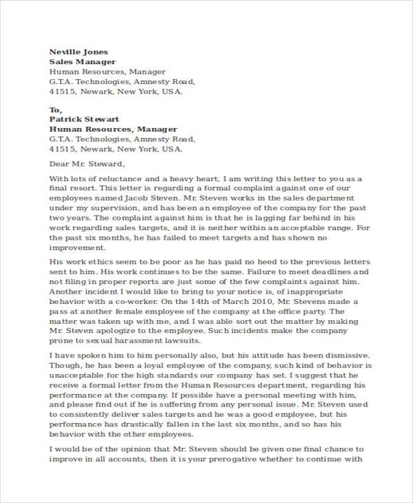 complaint letter against an employee on his misbehaviour sample