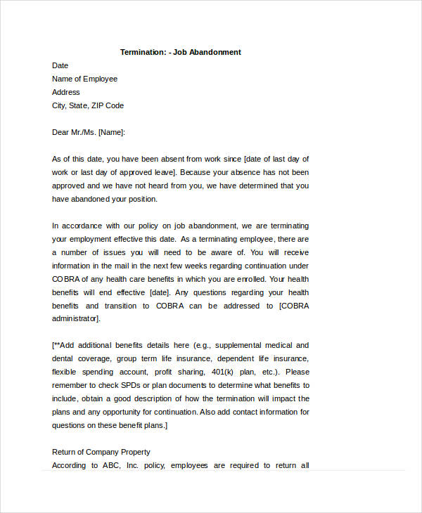 Job abandonment letter temporary layoff letter template job cobra letter to terminated employee the best cobra of spiritdancerdesigns Images