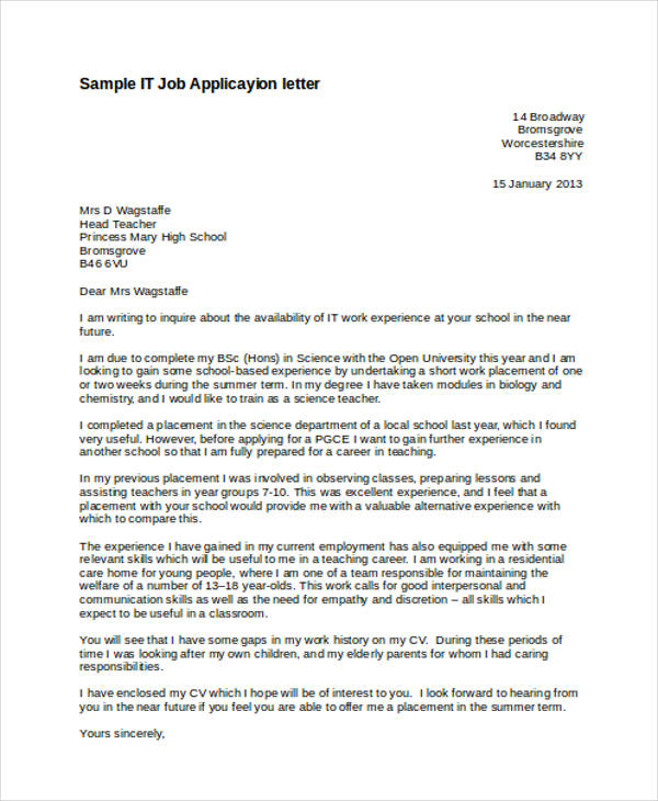 52 Application Letter Examples & Samples PDF DOC