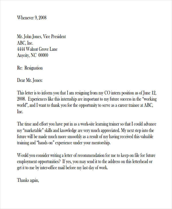 49 Resignation Letter Examples  Examples