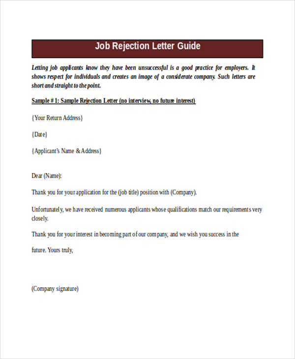 Application Rejection Letter No Interview | Mytemplate.Co