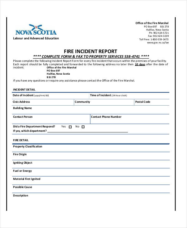 samples of incident report
