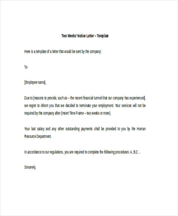 Two Weeks Notice Letter Examples