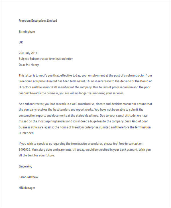 55 Termination Letter Examples Amp Samples PDF DOC