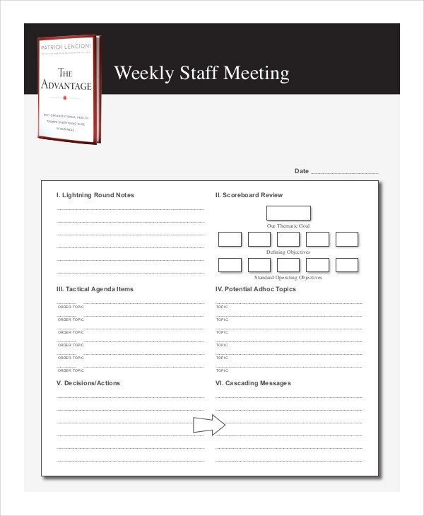 weekly staff meeting agenda