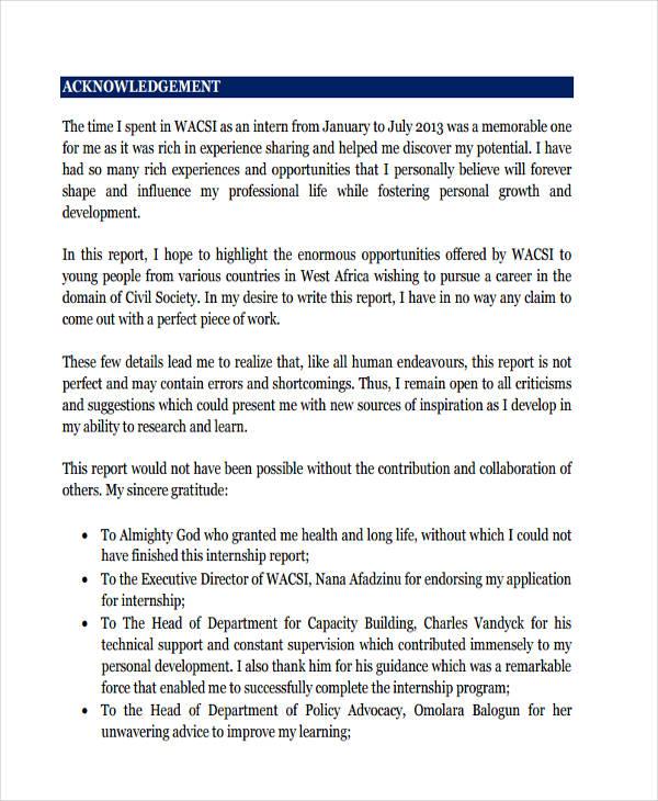 9 Internship Report Examples & Samples PDF