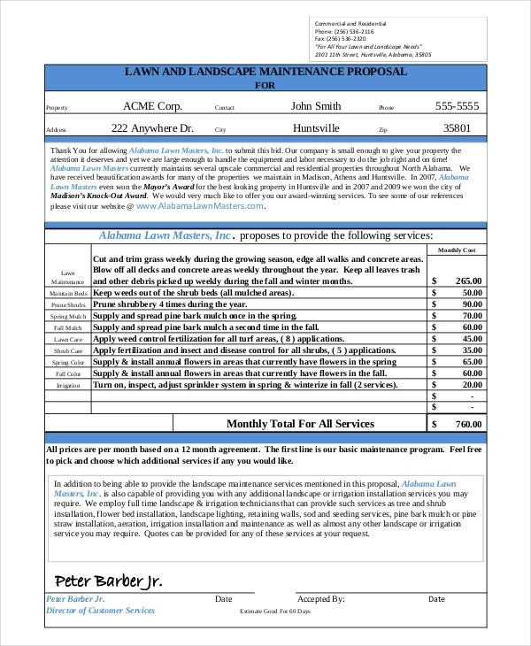 FREE 6 Landscaping Proposal Examples Amp Samples In PDF Google Docs Pages DOC Examples