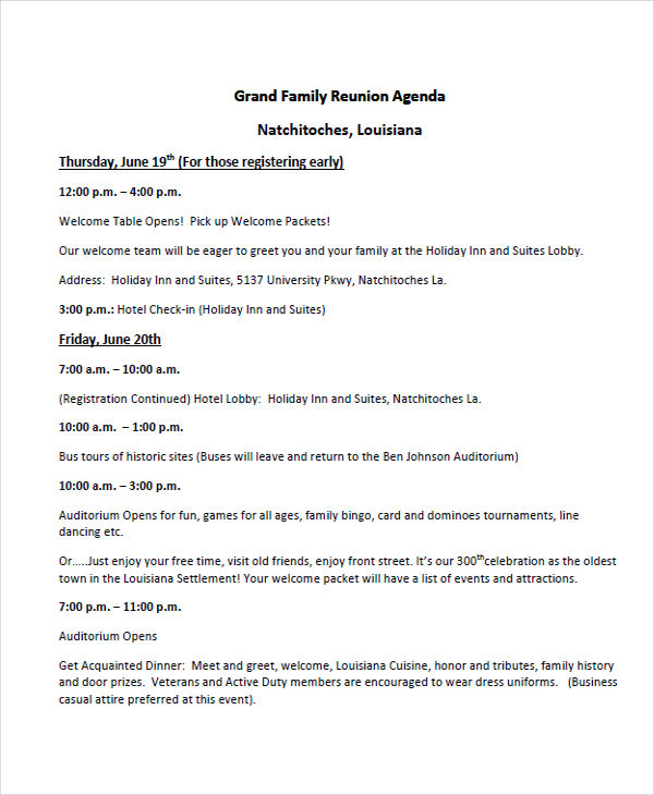 7 Reunion Agenda Examples Samples