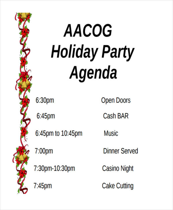 Program Template Party Holiday