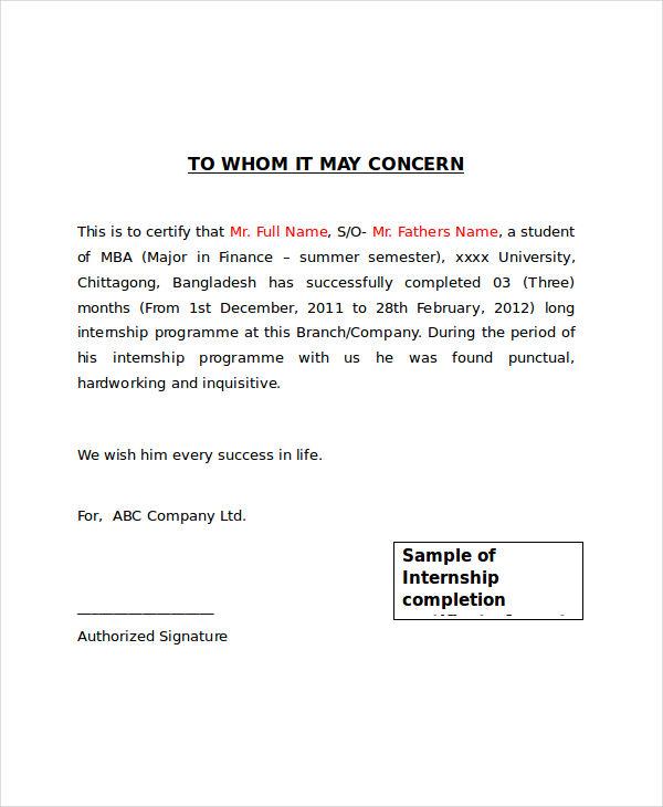 internship certificate letter sample