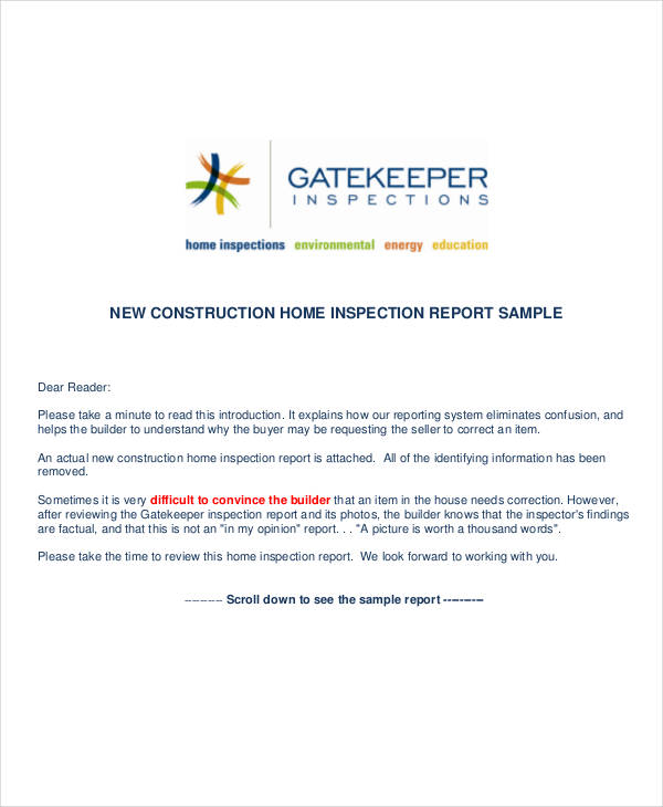 41 Inspection Report Examples  Samples  PDF Word Pages  Examples