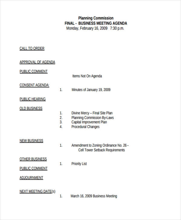sample cover letter for minutes of meeting - sample business meeting agenda free download champlain