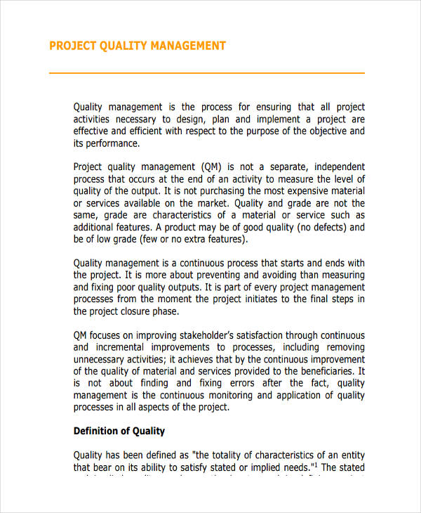 quality management plan example