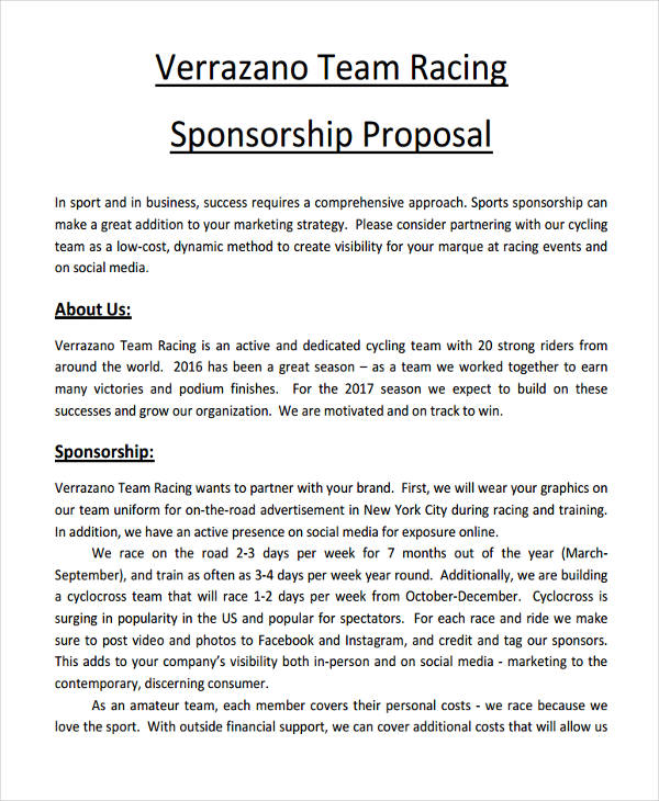 Proposal For Sports Event Sponsorship Letter Sample | Ownerletter co