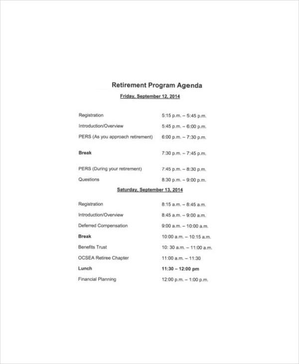 retirement program samples - free download