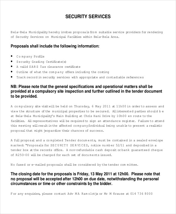 11 Security Proposal Examples Word PDF Pages Examples