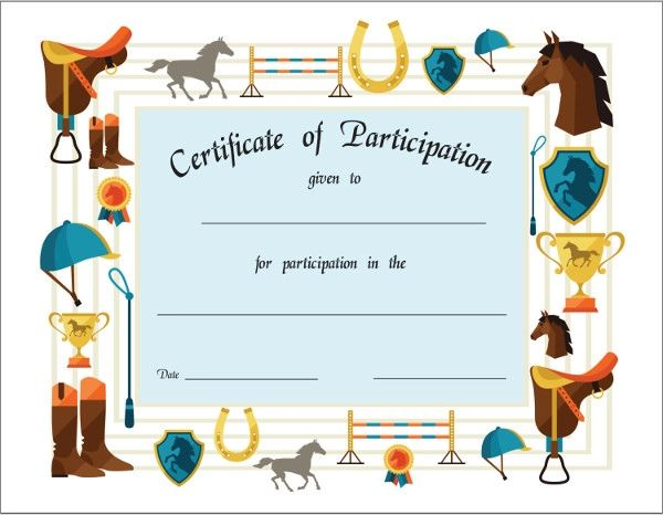 certificate of participation sports