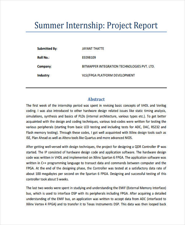 Summer Internship Project Report - Resume Examples | Resume Template