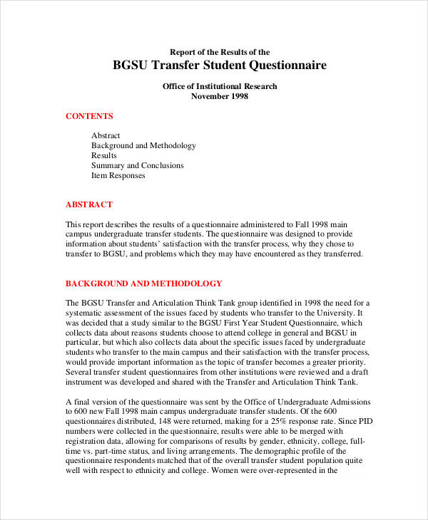 22 Student Questionnaire Examples PDF DOC
