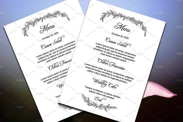 FREE 21+ Wedding Menu Examples In Word