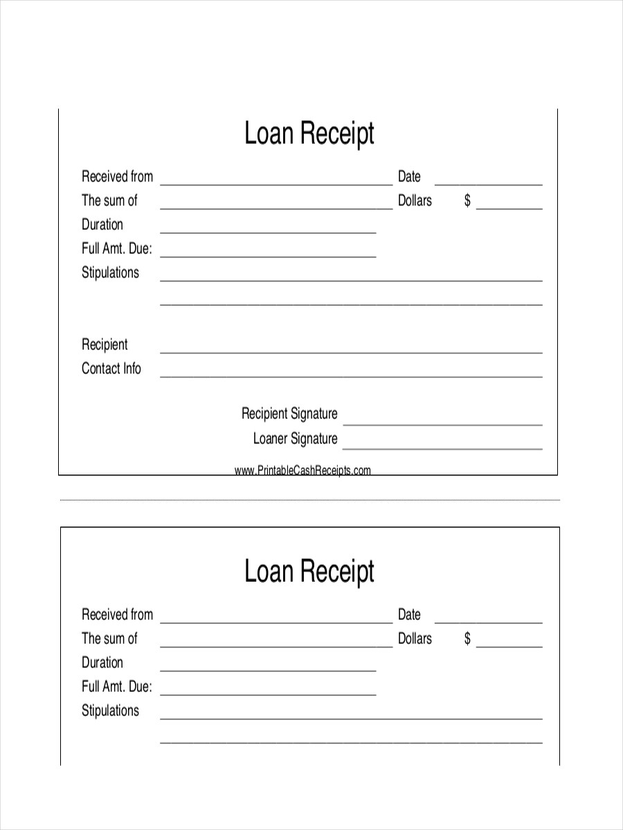 FREE 6+ Loan Receipt Examples & Samples in PDF | DOC | Examples