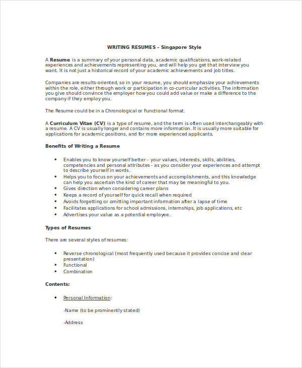 resume examples with contacts