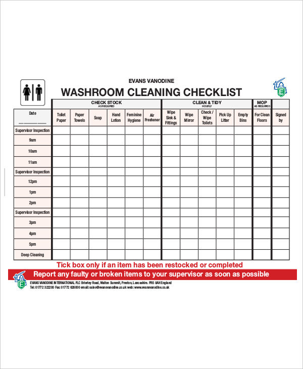 Checklist House Cleaning Business