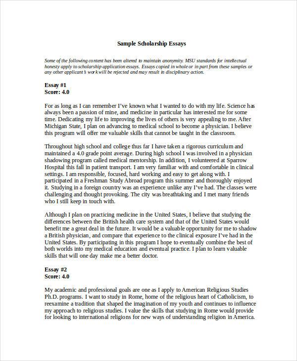 college scholarship essay example scholarship letter format  16 essay examples in doc scholarship essay example essay for scholarship application examples college scholarship
