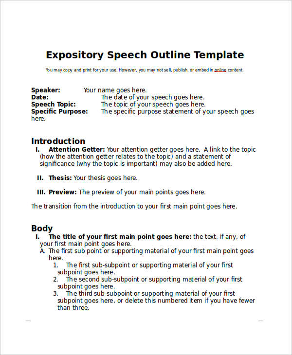 6 Speech Outline Examples Samples Examples