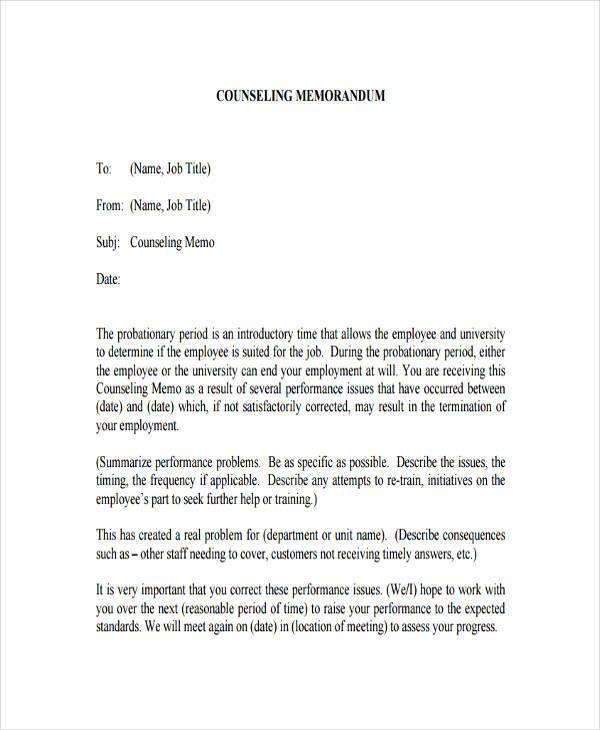 counseling memo template - formal memo
