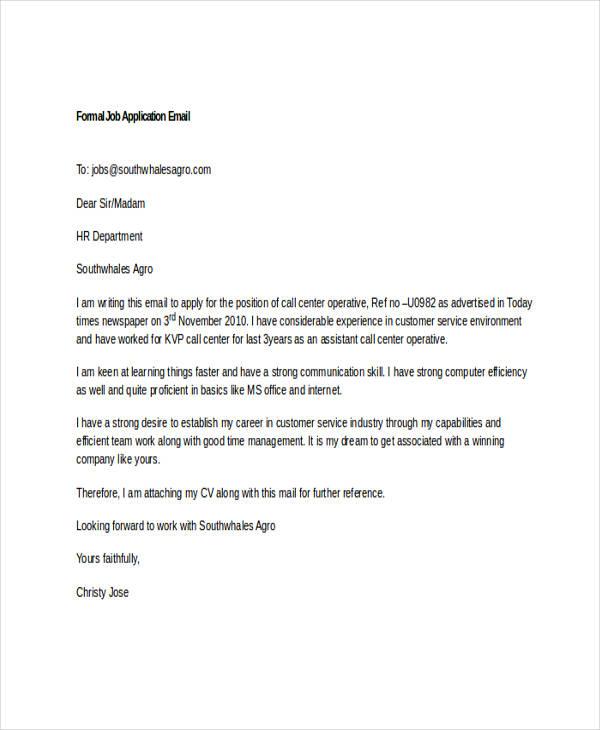 7 Job Application Emails Examples & Samples PDF DOC