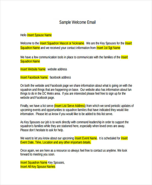 6 Welcome Email Examples & Samples Examples