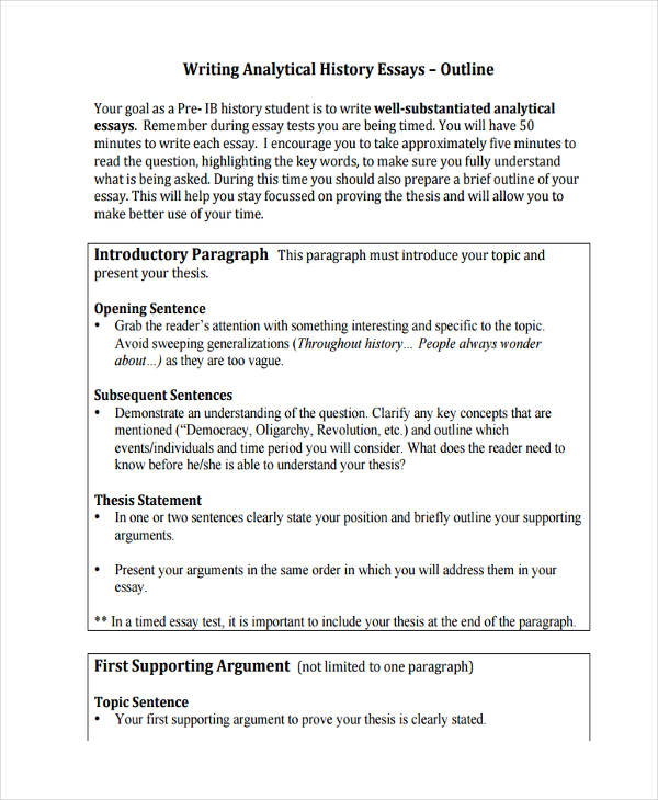 26 Sample Essay Outlines DOC PDF Examples