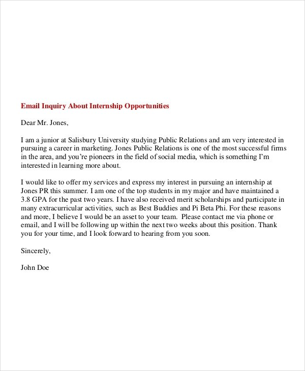 6 Internship Email Examples & Samples PDF Examples