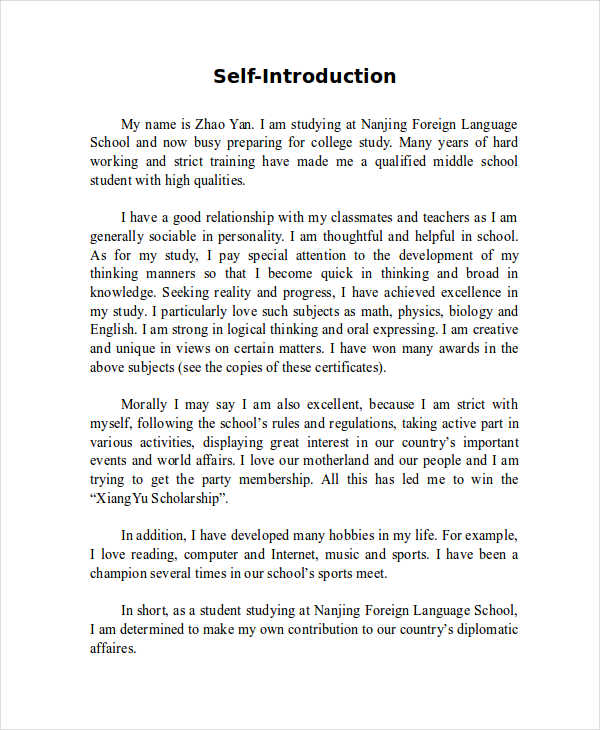 7 SelfIntroduction Essay Examples Samples