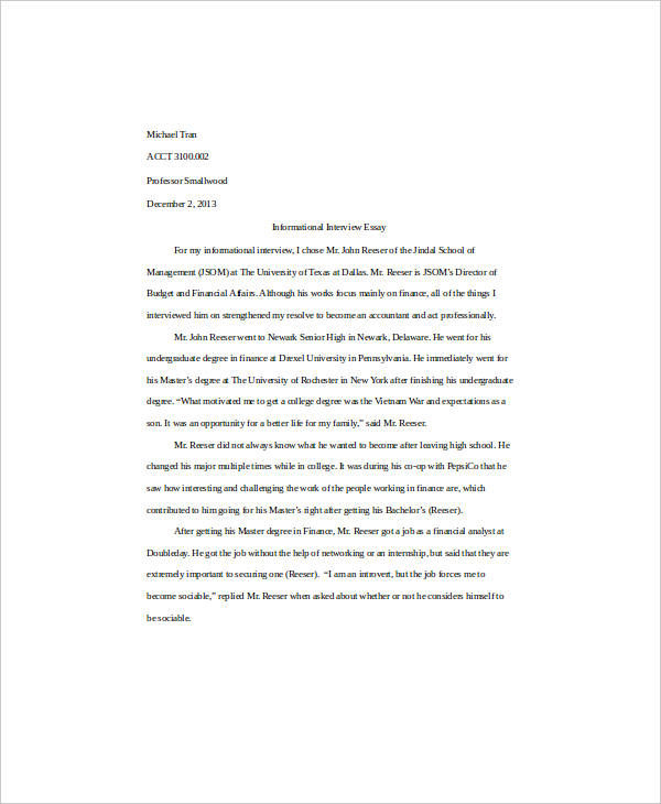 essay my self interview Use this essay to introduce yourself include any information that you believe is  important for the committee member to know about you both professionally and.