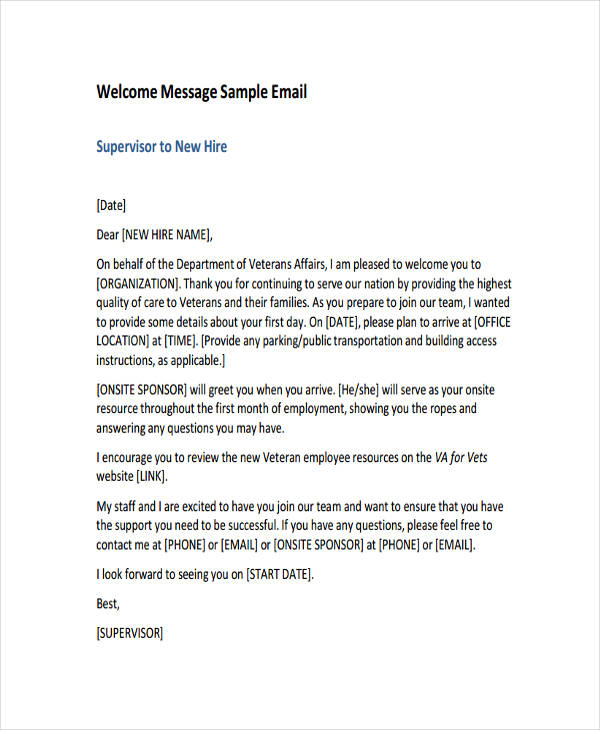 Welcome Letter To New Employee On First Day From Ceo Creativeletterco