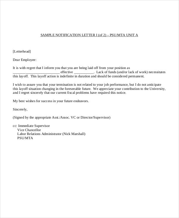 19 Notice Letter Examples  Samples  Examples