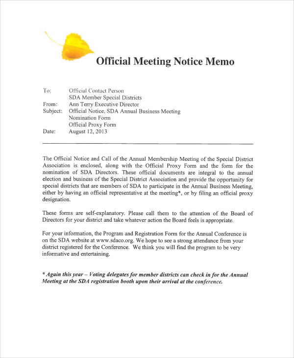 example of a business memo to employees