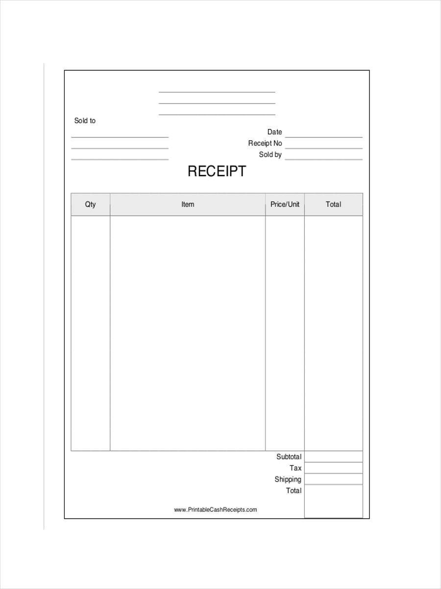 sample receipt template word