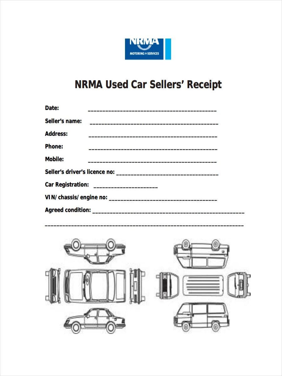 receipt for car sale