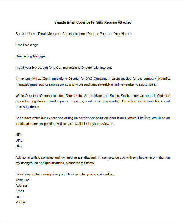21 Email Cover Letter Examples & Samples
