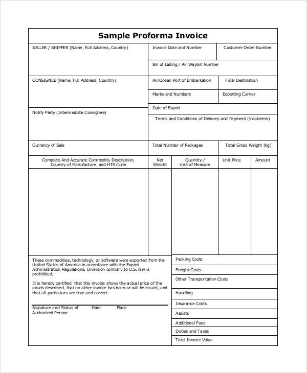 export proforma invoice sample