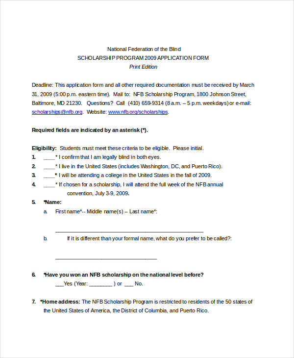 8 Examples Of Scholarship Applications