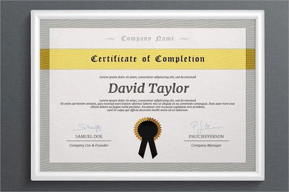 certificate of training completion template