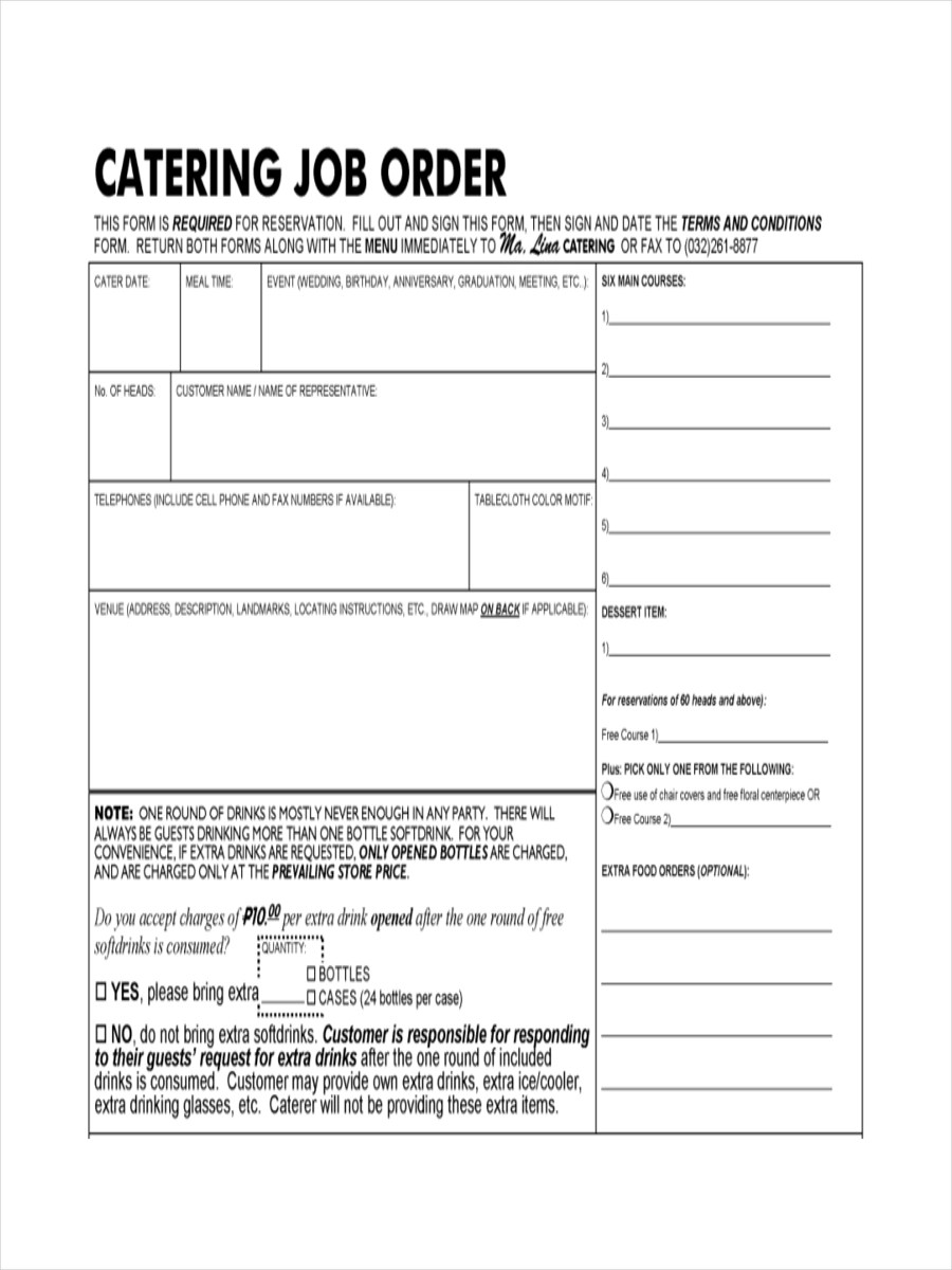 Catering Order Forms